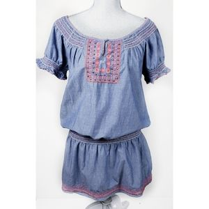 Nine West Embroidered Chambray Peasant Dress M